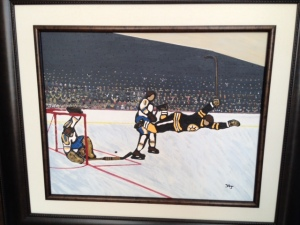 'A Magical  Moment' original painting by Hal Jones, depicting Bobby Orr's Stanley Cup heroics.